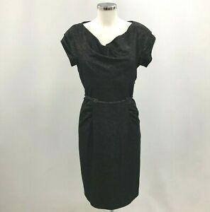Diane Von Furstenberg Dress UK 10 Pencil Style Cowl Neck Belt Black 242053