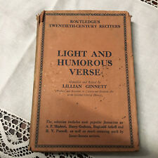 "Vintage Book ""Light and Humorous Verse"" By Lillian Ginnet"