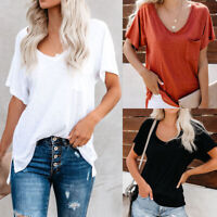 Women's V Neck Short Sleeve T-shirt Summer Tee Shirt Loose Casaul Tops Blouse