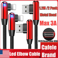 2X 1.2M Led 90 degree Metal Lightning Charging Charger Cable F Apple iPhone iPad