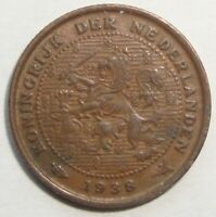 1938 NETHERLANDS HALF 1/2 CENT WORLD COIN NICE!