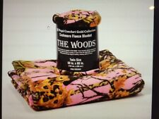 The Woods Camo Collection Cashmere Fleece Blanket Pink Soft 60 x 80 twin