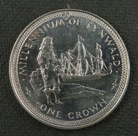 Isle of Man Crown, 1979, Millennium of Tynwald, Standing figure and ship