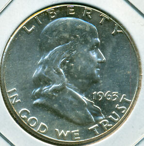 1963-P FRANKLIN HALF DOLLAR, CHOICE BRILLIANT UNCIRCULATED, GREAT PRICE!