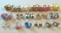 pierced post stud earrings. moon glow, birthstone, gold balls, pearl, cz 925 +