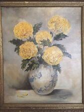 M Ernst Oil Painting Floral Still Life Chrysanthemum Vase Board Framed Vintage