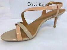 """NIB CALVIN KLEIN """"Lorren""""  Strappy sandals Size 9.5 Blush Nude Patent Beige Pink"""