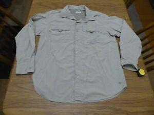 Men's Large Columbia Tan Omni-Shade Omni-Wick Long Sleeve Button Front EUC