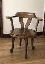 Antique Solid Oak (?) Swivel Chair