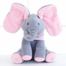 Peek-a-boo Elephant Baby Plush Toy Singing Stuffed Pink Animated Kids Soft Toy#