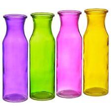 "New set of 4 Colorful Translucent Glass Milk Jug Bottle Vases 7.75"" Tall"