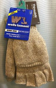 XL NWT WELLS LAMONT WORK 1500 Pullover Mitt 1/2 FINGER Rag Wool Glove THINSULATE