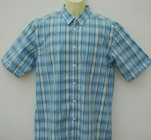 Mens Gents Colin Montgomerie Casual Golf Shirt Short Sleeve Size Medium Blue.