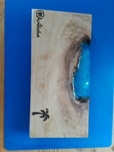 "Live Edge Sushi Board: Hickory + Blue Resin + Laser Etching 6""x12""x1"""
