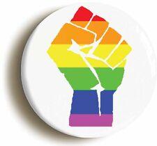 RAINBOW  LGBT SOLIDARITY FIST SYMBOL BADGE BUTTON PIN (Size 1inch/25mm diameter)