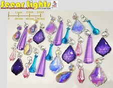 24 PURPLE PINK AB CHANDELIER CRYSTALS GLASS BEADS DROPLETS VINTAGE IRIDESCENT BN