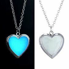 Glow In Dark Heart Shape Silver Plated Locket Pendant Necklace with Chain