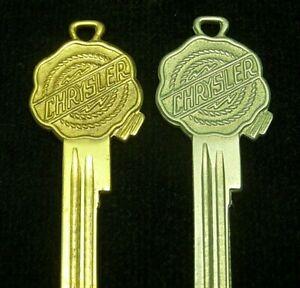 2 CHRYSLER Wax Seal CREST KEY Ign./Door blanks fit 1947-48, Mid 51-1952, 1956-67