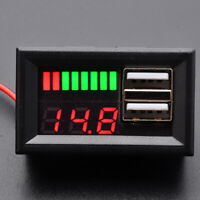 LED 12V Lead Acid Battery Capacity Indicator Voltage Meter Dual USB Charger DIY