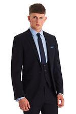 Moss London Para Hombre Skinny Fit mezcla liso a Juego Vestido Azul Marino Traje Chaqueta - 36R