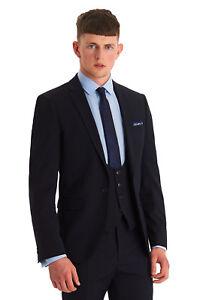 Moss London Mens Skinny Fit Mix Match Plain Navy Blue Dress Suit Jacket - 36R