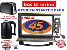 BOS &SARINO Practicle Kitchen Set 45L Oven, 2 Slice Toaster & 2L Cordless Kettle