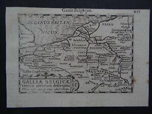 1609 LANGENES  Atlas Bertius Hondius map  Gaule Belgique - Roman Gallia Belgica