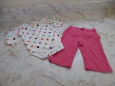 Baby Girl 6 Months Carters White Flower Romper Gerber Pink Stretch Pants Outfit
