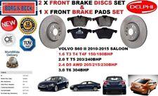 FOR VOLVO S60 II T3 T4 T5 T6 D3 D5 FRONT BRAKE DISCS SET + BRAKE PADS KIT