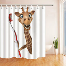 Cute giraffe Shower Curtain Bedroom Decor Waterproof Fabric & 12hooks 71*71inch