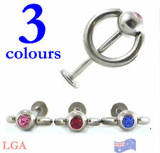 Door knocker Monroe labret 316L 18g 10mm 6mm ring Pink, Red or Blue Slave Tragus