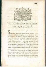 CONSIGLIO SUPREMO 1800 PIEMONTE CONSEGNA ARMI ABBANDONATE ARMATA NAPOLEONICA