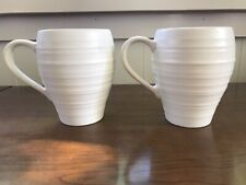 Mikasa Swirl White Stoneware Set of 2 Coffee / Tea Mugs 16 oz