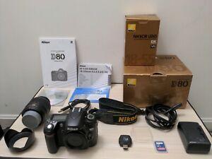 Nikon D80 10.2MP Digital DSLR Camera with AF-S 18-55 DX VR lens and accessories