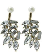 Crystal leaf pearl ear jacket earrings