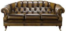 Chesterfield Victoria 3 Seater Antique Gold Leather Sofa Settee