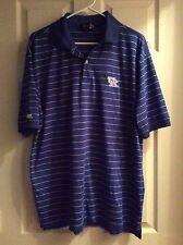 NCAA Kentucky Wildcats UK Polo Performance Golf Shirt Blue/White Striped Size XL