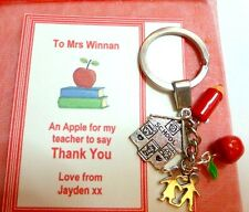 Thank you Gift Teacher at End of Term On Gift card as shown Key Ring with Charms