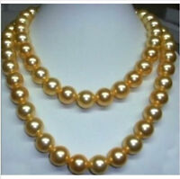 """WHOLESALE genuine 35"""" 10-11 mm south sea golden pearl necklace 14K Gold Clasp"""