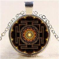 Sri Yantra Photo Cabochon Glass Tibet Silver Chain Pendant Necklace New