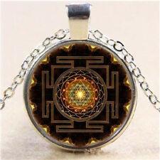Sri Yantra Photo CABOCHON Glass Tibet Silver Chain Pendant Necklace