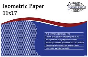 """Isometric Paper 11""""x17"""" or 8.5""""x11""""-- 30 Sheets"""