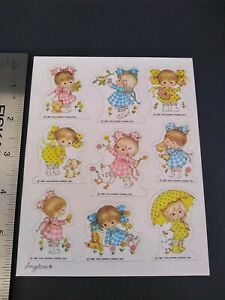 Vintage 80s Stickers SUZY ANGEL Hallmark   Stickers 1981 ANGELOVE Gingham Girls