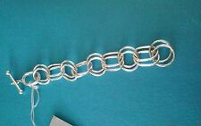 "Fine Sterling Silver Round Oval Chain Link Bracelet 8"" Dobbs Boston Italy"