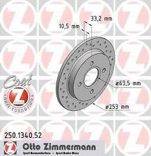 Disque de frein arriere ZIMMERMANN PERCE 250.1340.52 FORD SIERRA 2.0 i 100 115 1