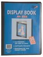 4 x A4 Premium Black Cover Display Book Presentation Folder Portfolio - 10 pkt