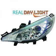 LHD Projector LED DRL Headlights Pair Clear Chrome For Peugeot 207 06-12