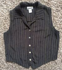 Vtg 90s Grunge Jones &Co Button Down Green Navy Blue Stripe CropTop Small Medium