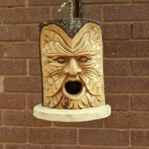 Bird House Green Man of The Woods Hand Carved Nesting Box Fair Trade