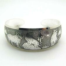Tibetan Silver Tiger Pictured Cuff Bracelet Bangle buddhist hinduism Goth Chakra